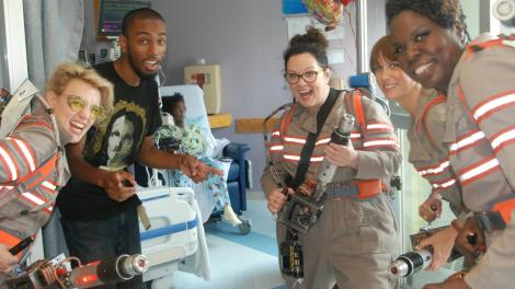 Sick children, their critical faculties ravaged by illness, unable to get to a cinema, had to endure a live action version of the new Ghostbusters.